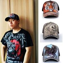 3D Original Chinese Dragon Tiger Baseball Caps For Women With Rivet Streetwear Men Hats Hip Hop Cap Snapback Bone 2020 Dad Caps
