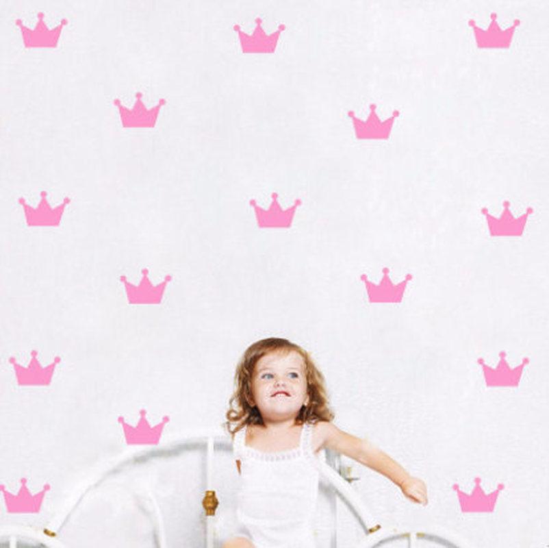 Kids Room Little Princess Simple Cottage Crown 3D Wallpaper Pink Girl Crown Wall Sticker Bedroom Decoration Mural