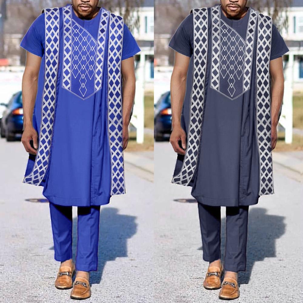 H & D 2021 الأفريقية الجديدة Agbada رجل 3 قطعة مجموعة رداء قميص السراويل دعوى Dashiki الرجال الملابس التطريز بالزي زائد حجم Boubou PH9029