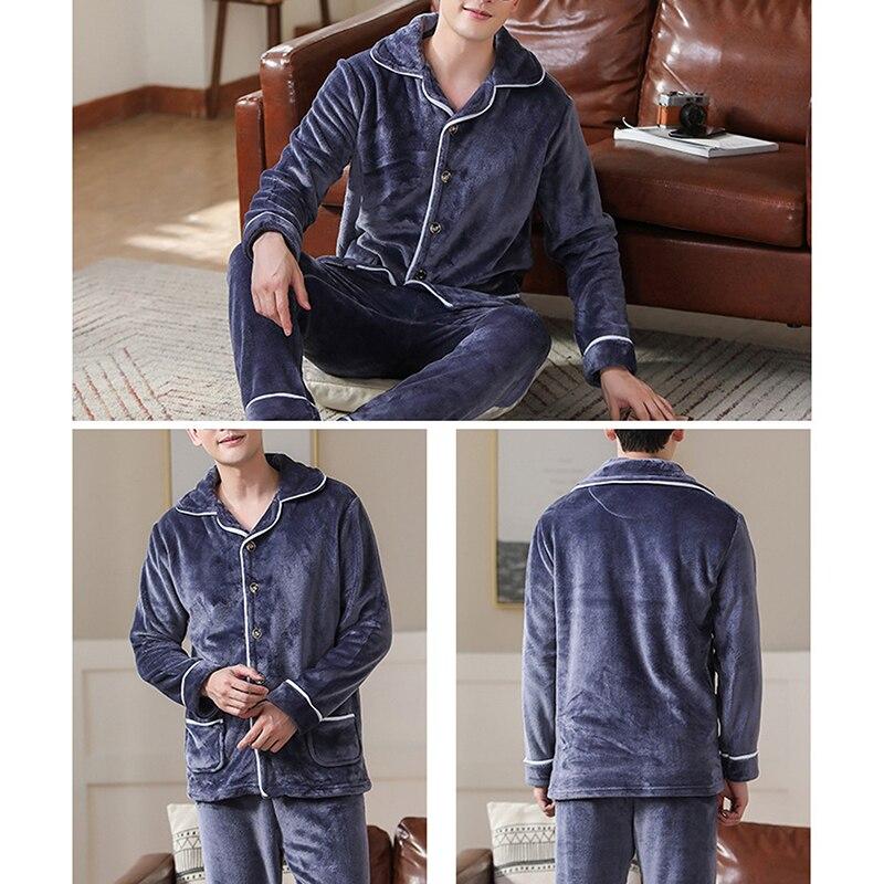 2021 весна толстая теплая синяя фланель пижама комплекты для мужчин длинный рукав коралловый бархат одежда для сна костюм домашняя одежда домашняя одежда дом одежда