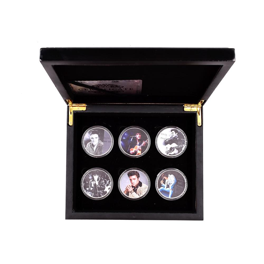 Король поп Элвиса Пресли 999,9 Посеребренная монета домашняя декоративная металлическая монета 6 шт с деревянной коробкой