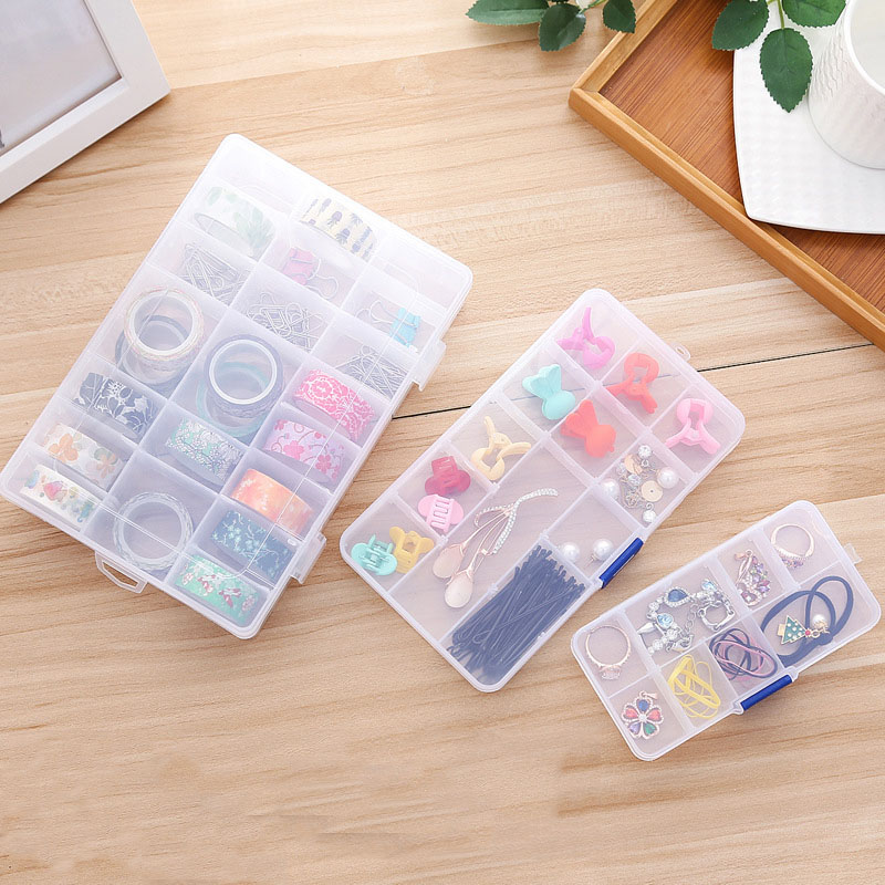10 /15/24 Grids Compartments Plastic Transparent Organizer Jewel Bead Case Cover Container Jewelry Pill Storage Box Gadgets