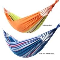 striped hammocks ultralight camping travel canvas hammock with backpack rainbow outdoor leisure garden hanging swing