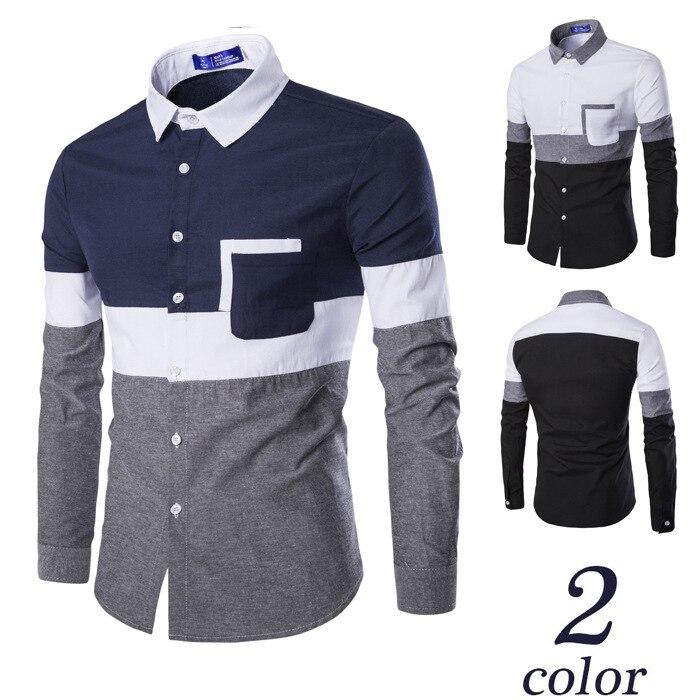 الصيف الأوروبية والأمريكية نمط الرجال استرخاء و عارضة أكسفورد اللون مطابقة طويل كم قميص
