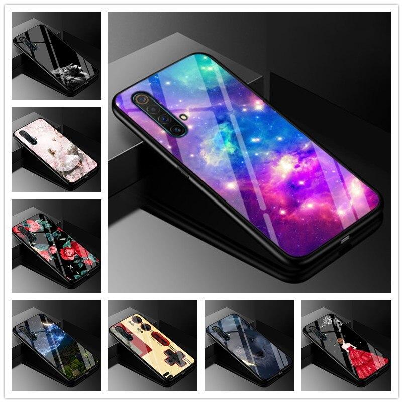 Para oppo realme x50 5g caso vidro temperado capa dura de volta para oppo realme x50 5g caixa do telefone coque x 50 pára-choques capa