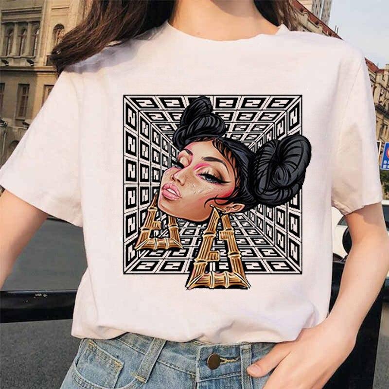 FIXSYS, bonita camiseta negra Girsl para mujer, camiseta blanca con estampado de dibujos animados a la moda, camiseta Harajuku, Tops de manga corta, camiseta femenina, Top