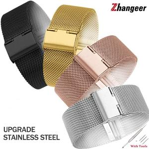 High Quality 10-24mm Stainless Steel Milanese Band Men Women Watches Mesh Strap Flat Interface Wristbands Accessories with Tools