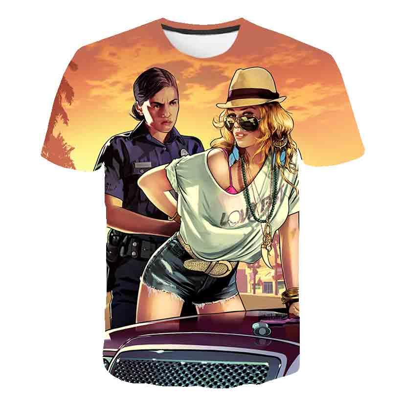 2020 Grand Theft Auto Gta V 5 T camisas GTA 5 Juego T Camiseta Tee Tops Niño de verano de manga corta Camiseta, ropa dropshipping