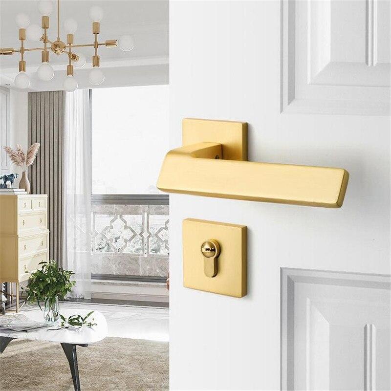 نحى الذهب مربع الحديثة سبليت طقم أقفال الباب كتم قفل باب الغرفة الداخلية مقبض الباب مقابض قفل مع قفل الجسم