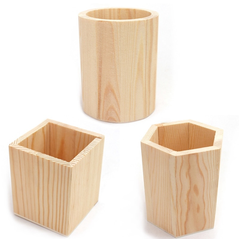 Caja de soporte de lápiz de madera lisa/organizador de escritorio de pluma/contenedor de golpe de taza