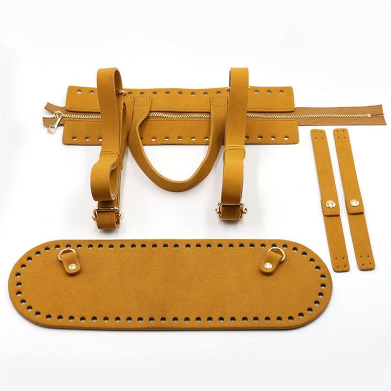 4 pièces/ensemble bricolage fait main pochette Crochet sac à main accessoires en cuir artificiel fermeture éclair bande sac bas bandoulière