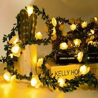 batteryusb operated 102040 leds rose flower led christmas garland fairy string lights outdoor for wedding garden party decor