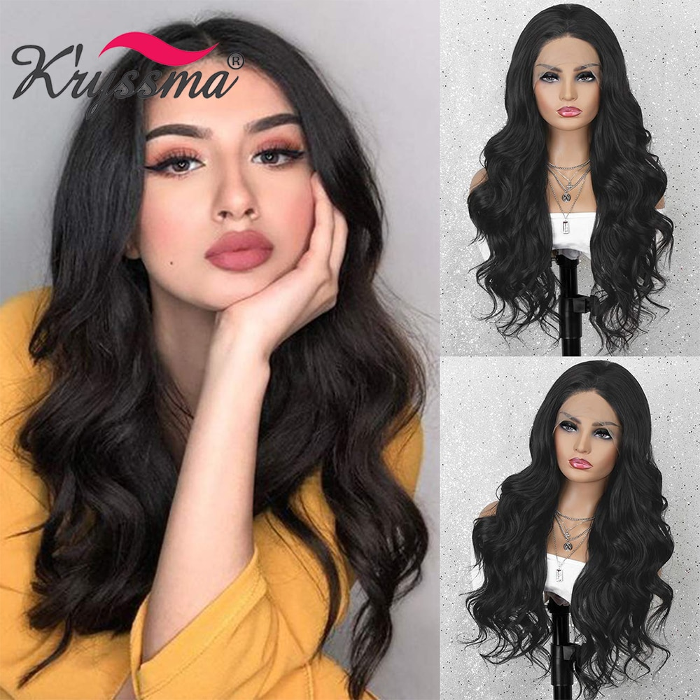 Kryssma Black Wigs For Women Long Wavy Synthetic 13*3 Lace Front Wig Women's Cosplay Wigs With Middle Part Heat Resistant Hair
