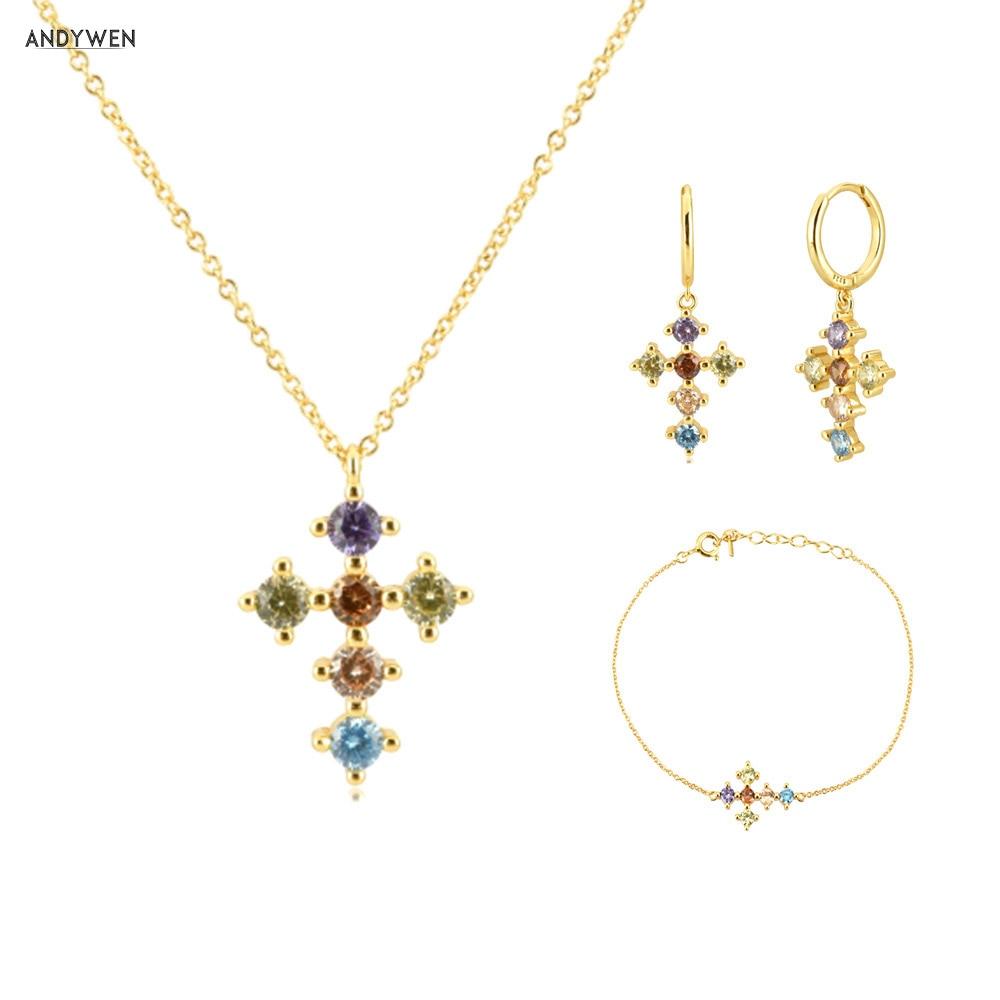ANDYWEN 925 Sterling Silver Gold Rainbow Cross Zircon CZ Hoops Pendiente Piercing Ohrringe Bracelet Necklace Jewelry Set Luxury