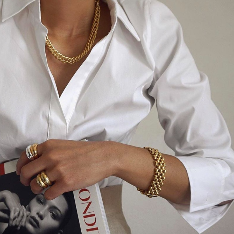 Timeless Wonder Brass Geo Chains Pave Necklace Women Jewelry Punk Gothic Boho Designer Trendy Top Ins Kpop Prom Rare Set 5371