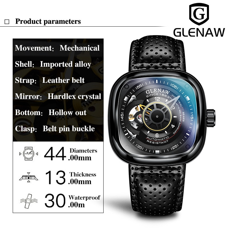 Glenaw Design Brand 2021 Men Hollow Automatic Black Mechanical Watch GMT  Top Brand Reloj Hombre Watches Waterproof enlarge