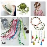 Feuille verte artificielle pour decoration de maison  5M  accessoires de decoration de mariage  bricolage couronne cadeau Scrapbooking  fausse fleur artisanale
