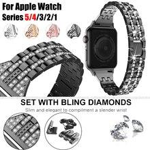 Correa de reloj de acero inoxidable con diamantes brillantes para Apple Watch 5 4 3 2 1 correa para iWatch 44mm 40mm 42mm 38mm pulsera