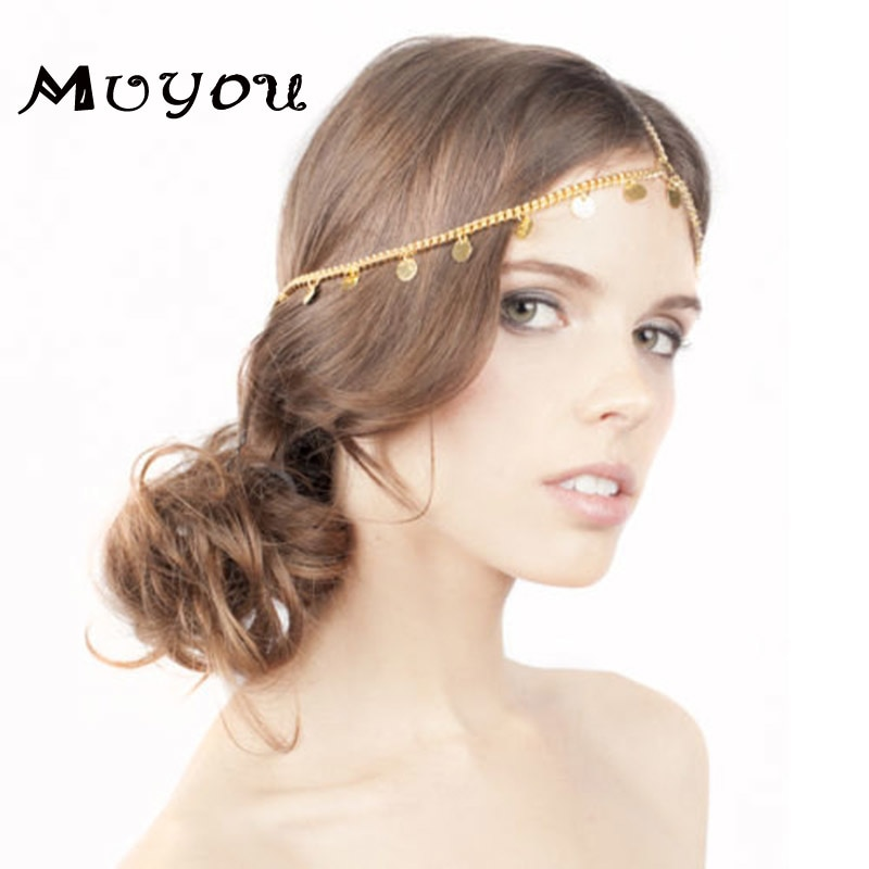 Nuevo estilo de joyería de cabeza de boda para mujeres, cadena de cabeza redonda dorada en accesorio de cabeza T021