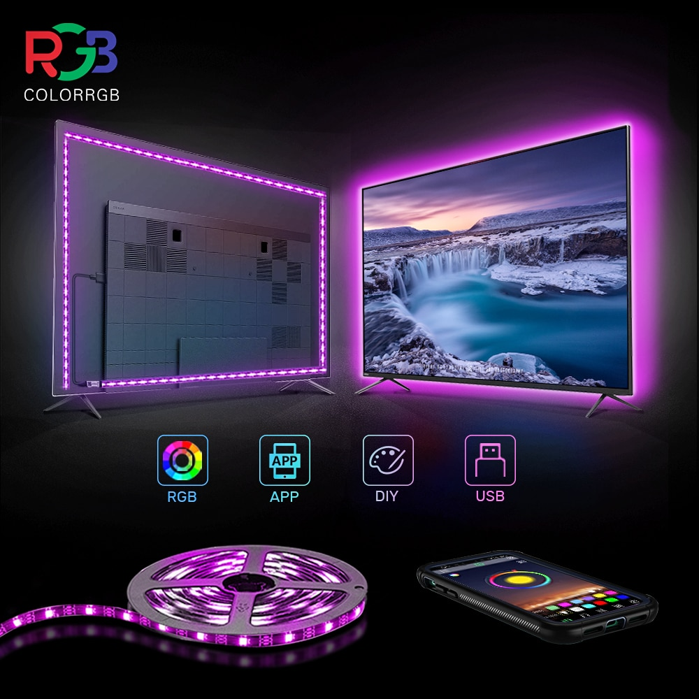 ColorRGB, TV Backlight , USB Powered LED strip light ,RGB5050 For 24 Inch-60 Inch TV,Mirror,PC, APP Control Bias