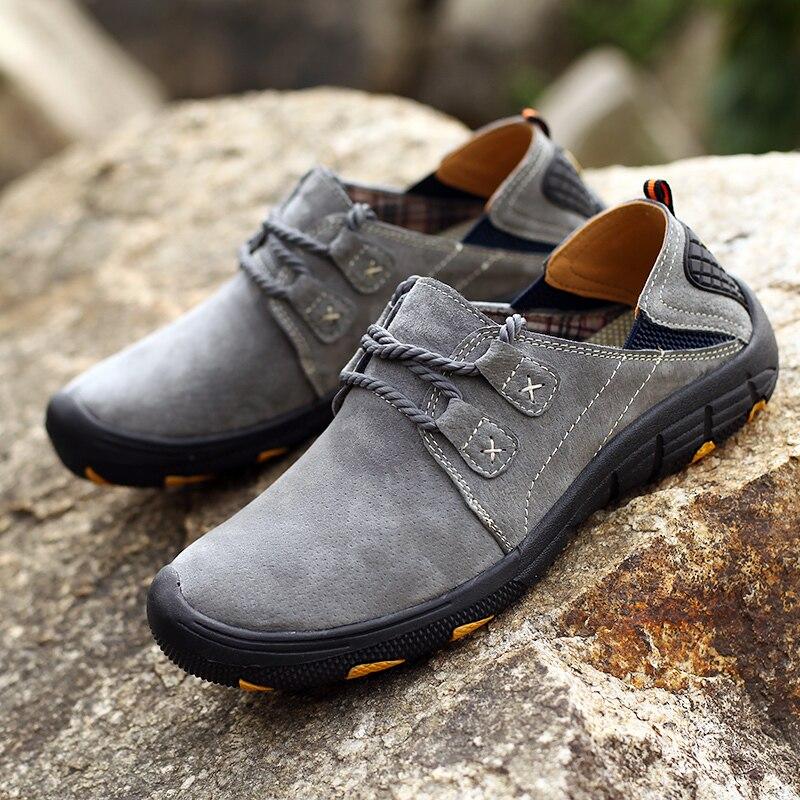 Мужские кожаные повседневные ботинки, прочные дышащие кроссовки на плоской подошве, легкая прогулочная обувь, большие размеры 38-48, весна-осень