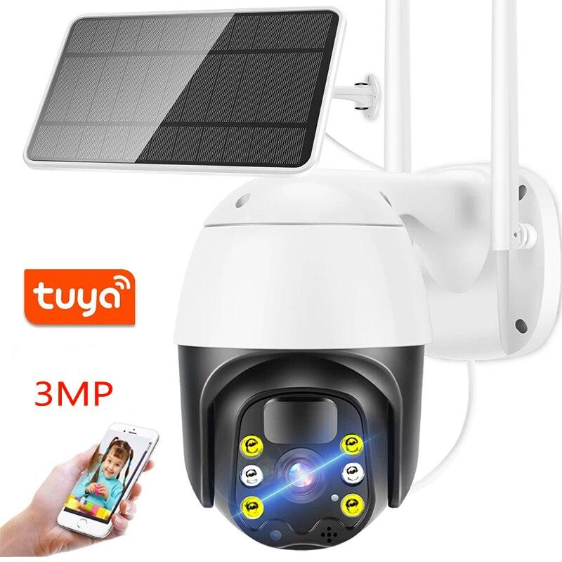HONTUSEC 3MP تويا واي فاي 4G كاميرا مصدر للطاقة الشمسية في الهواء الطلق بطارية كاميرا IP PTZ مع PIR إنذار كشف الحركة دعم أليكسا جوجل