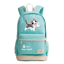 Chi의 스위트 홈 Kawaii 고양이 학교 가방 귀여운 여성 배낭 만화 Bookbag 캔버스 여행 Bagpack 노트북 Rugzak Mochila Feminina