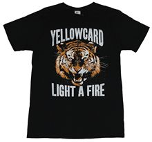 Yellowcard hommes T-Shirt-allumer un visage de tigre de feu sous le nom Logo Image dessin animé T-Shirt hommes unisexe nouvelle mode T-Shirt