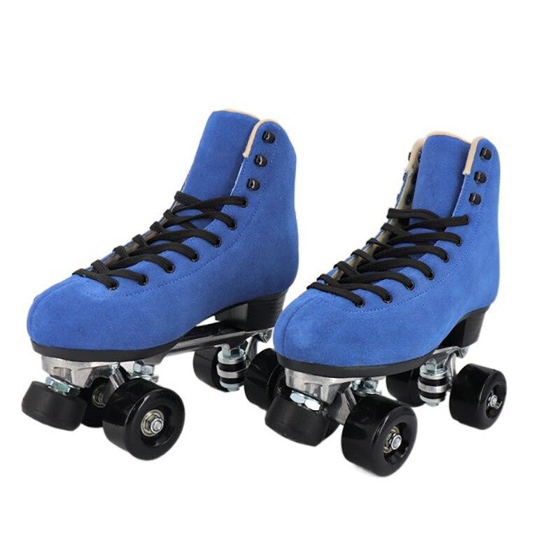 Стальной Скоба четырехколесные роликовые коньки профессиональные спортивные двойные роликовые коньки для мужчин женщин мужчин синие пати...