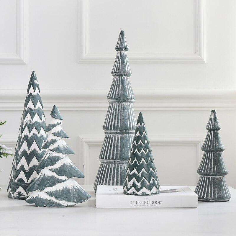 Mini árbol de Navidad de madera de Año Nuevo, adornos de escritorio...