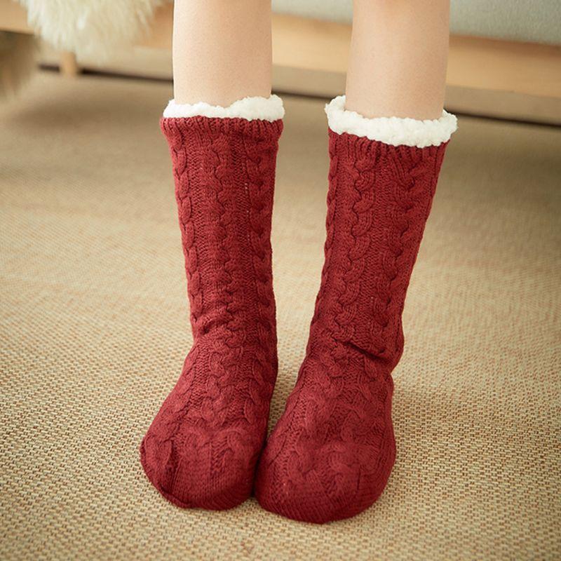 Frauen Winter Warm Twist Kabel Stricken Fuzzy Plüsch Gefüttert Slipper Socken mit Greifer M6CD