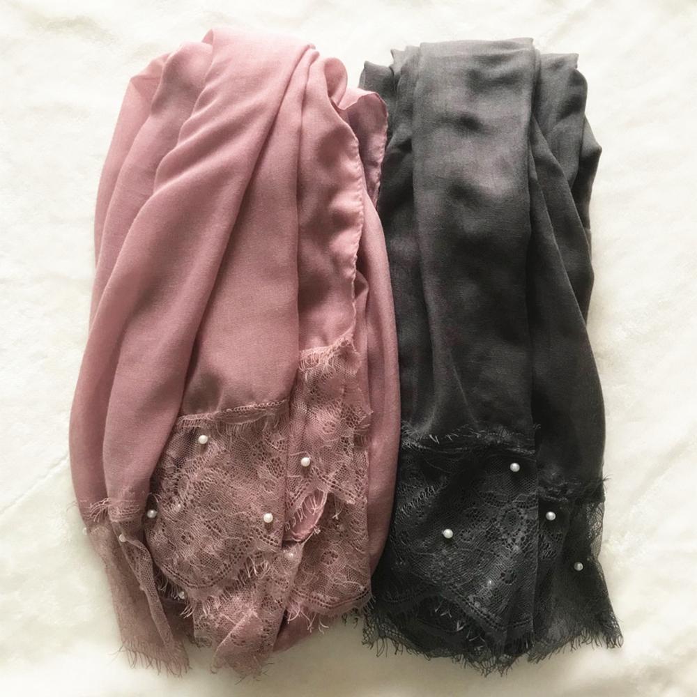 وشاح نسائي من الدانتيل ، مجموعة من 30 لونًا ، عصري ، طرحة ، حجاب ، لؤلؤ ، إسلامي