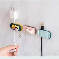 cartoon cute power plug hook data cable storage fixing clip desktop cable organizer socket cable clamp wall bracket