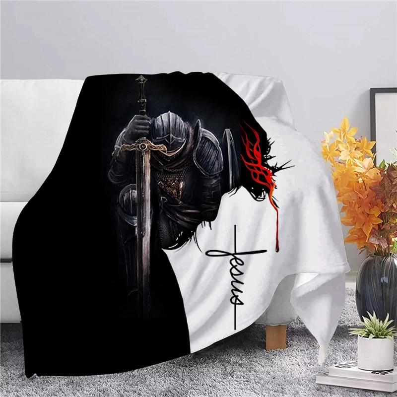CLOOCL يسوع فرسان Templar الفانيلا بطانية ثلاثية الأبعاد الطباعة لينة الدافئة بطانية لحاف غطاء الفراش أريكة السفر مكتب رمي بطانية