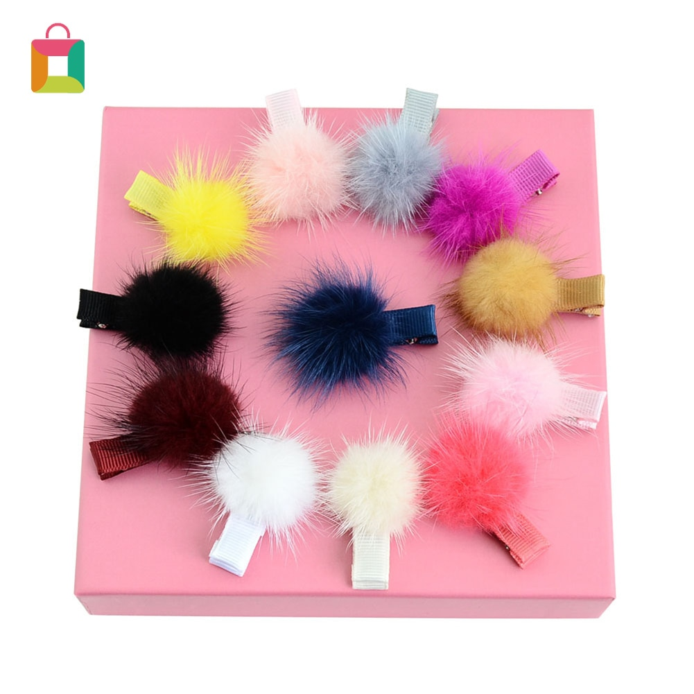 12 piezas mini clip de bola Bola de Pelo pompón clip de pelo niños clip de pelo de moda chica clip de pelo pequeño pompón de piel brillante