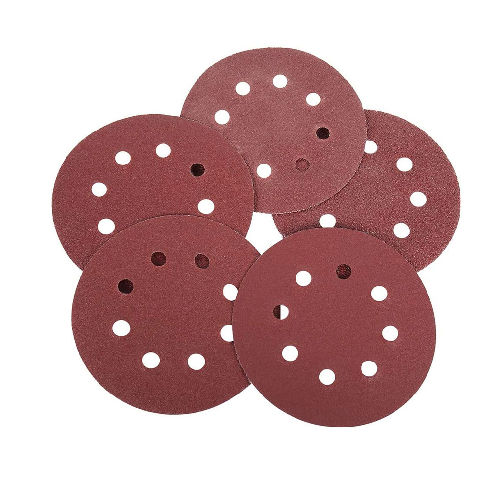 Sanding Discs Pads Hook and Loop Sanding Discs Pads 5-inch 8-hole 125mm Dark Red 60/80/100/120/240*20 Sanding Sheets 100PCS