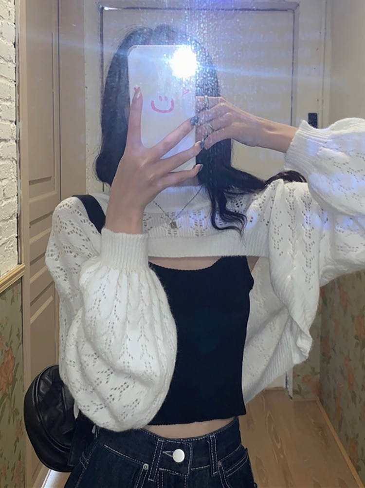 Knitwear Suit  Women's Design Sense Fashion Summer Korean 2021 New Hollow Out Pullover Bubble Short