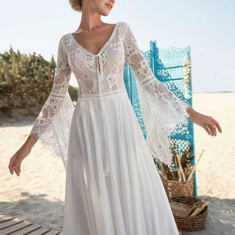 2021 Flare Sleeve Sweep Train Bohemian Lace Elegant Backless Chiffon Backless Beach Wedding Dress Bride Gown Vestidos De Novia