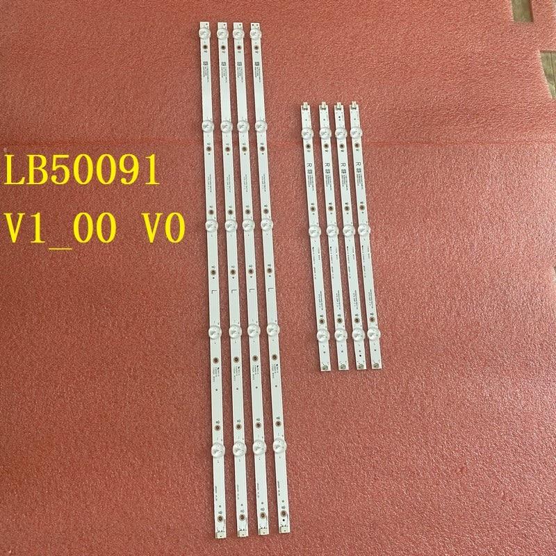 8pcs/set LED backlight bar For sharp LC-50LB601U NS-50DF710NA19 LB50091 V1_00 V0 LB-PM3030-GJBBY504X8ABL2-L/R-T