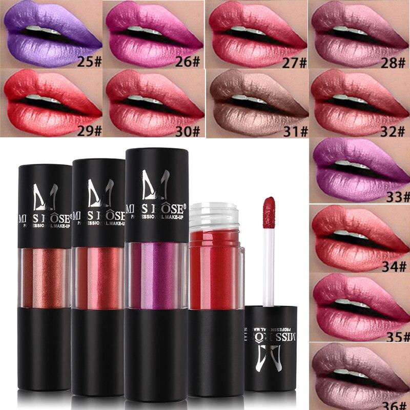La srta. Rose líquido metálico pintalabios, maquillaje de labio brillo metálico brillo de labios crema hidratante a prueba de agua brillo de labios tinte de labios