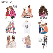 Fashion Lady Thermo Sticker Iron-On Transfers For Children Mom Baby Parent-Child Patch T-Shirt Jacke