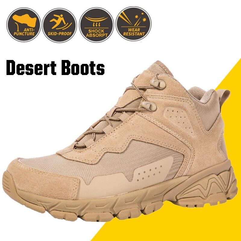 Hommes désert tactique militaire bottes hommes travail sécurité Force spéciale chaussures armée botte cheville à lacets bottes de Combat homme chaussures