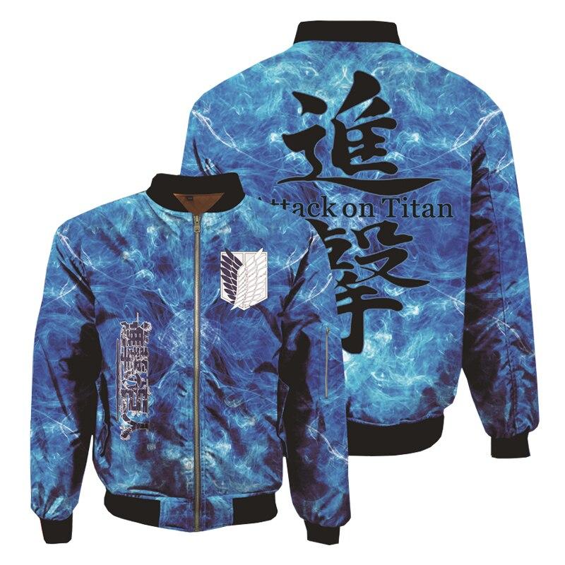Anime Attack-sudaderas con capucha de Titán Sudaderas estampadas en 3D, chaqueta Bomber gruesa, abrigo de invierno para hombres, abrigo de béisbol para adultos