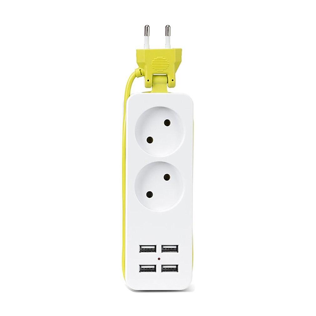 Regleta de viaje de tamaño compacto, enchufe de extensión portátil con 4 USB, cargador de pared, enchufe de escritorio inteligente