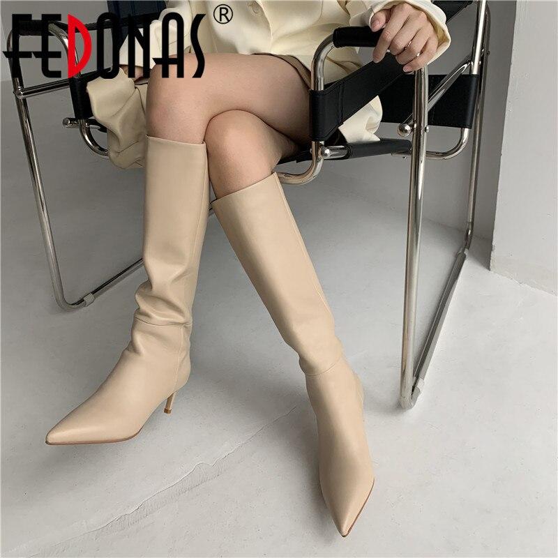 FEDONAS أنيقة حذاء برقبة للركبة للنساء واسعة الساق وأشار حذاء مزود بفتحة للأصابع امرأة الكعوب 2021 خريف شتاء الزفاف أحذية عالية الكعب