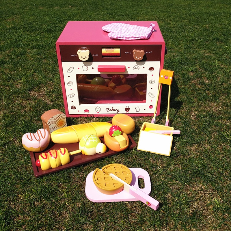 htr20q gas food oven of single deck of bakery equipment Wooden Oven Bakery Accessories Magnetic Bread Toast Baking Cutting Kitchen Food Toys New Realistic Oven With Glove