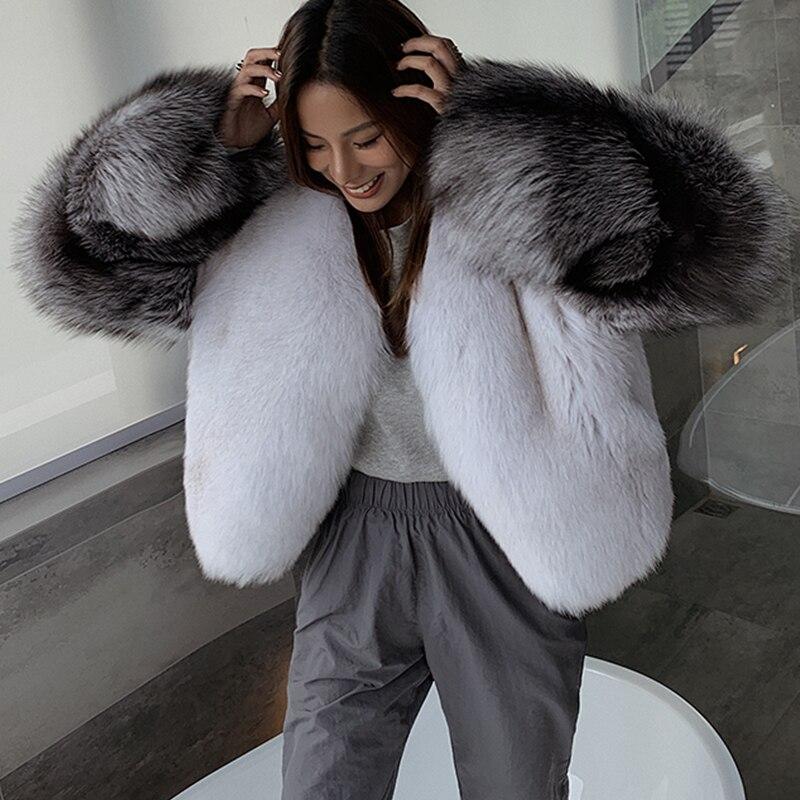 الفاخرة اللون كتلة المألوف الفضة الثعلب الفراء كم سترة الإناث الشتاء الدافئة Fluffy الطبيعية ريال فوكس الفراء معطف المرأة