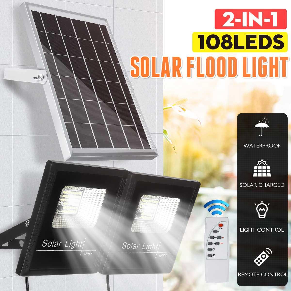 500W LED Solar Flood Light Remote Control Spotlight IP67 Waterproof Street Light Dimmable Outdoor Garden Lamp Timer Function