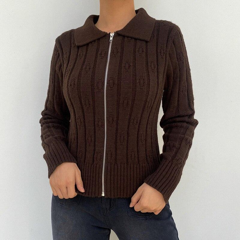 Женский шерстяной кардиган с длинным рукавом, коричневый приталенный однотонный шерстяной кардиган в полоску на молнии, в стиле ретро, Y2K, о...