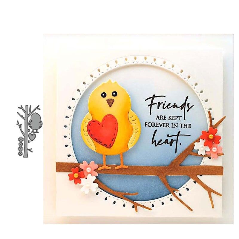 JC Love Heart Bird Tree Branch Metal Cutting Dies DIY Scrapbook New Die Cut Card Make Stencil Craft Mold Mould Model Decoration